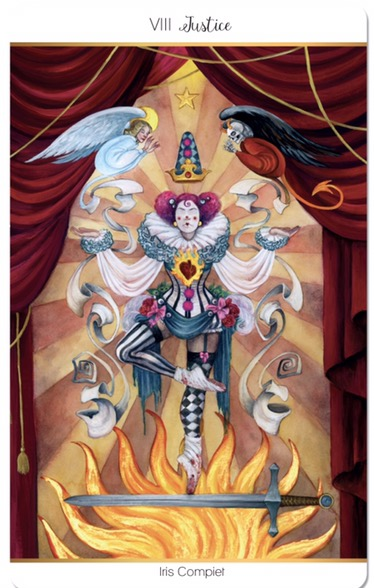 featured card of the day justice 78 tarot carnival cirque du