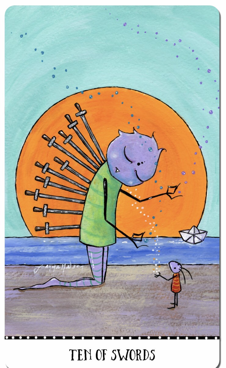 Featured Card of the Day – 10 of Swords – Monstarot from Joanna Nelson Studio — Tarot by Cecelia